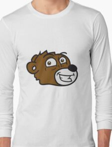 grin smile comic cartoon head face sweet little cute polar teddy bear funny Long Sleeve T-Shirt