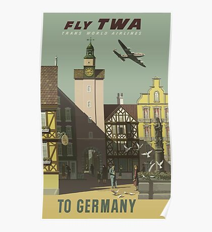 Fly TWA to Germany Vintage Travel Poster Poster