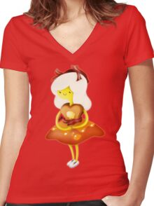 Adventure Time Breakfast Princess Women's Fitted V-Neck T-Shirt