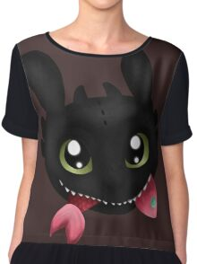 How To Train Your Dragon Toothless Eating Salmon Chiffon Top