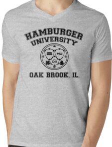 Hamburger University in Black Mens V-Neck T-Shirt