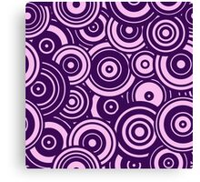 Mod Target concentric circles repeating pattern, purple Canvas Print