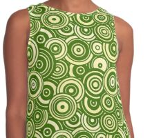 Mod Target concentric circles repeating pattern, moss green Contrast Tank