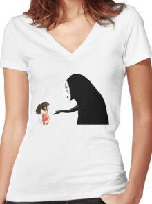 Spirited Away Pixel  Women's Fitted V-Neck T-Shirt
