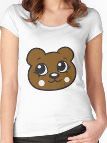 face head female woman girl sweet cute comic cartoon teddy bear Women's Fitted Scoop T-Shirt