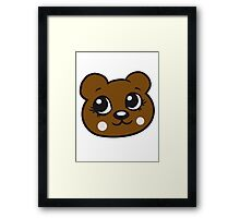 face head female woman girl sweet cute comic cartoon teddy bear Framed Print