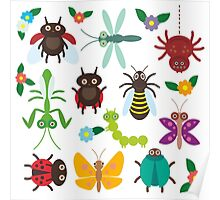 Insects on green Poster