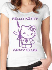 Hello Kitty Army Club Women's Fitted Scoop T-Shirt