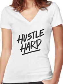 Hustle Hard - Black Women's Fitted V-Neck T-Shirt