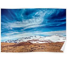 Snowy mountains. crack from an earthquake. Russia, Siberia, Altai mountains Poster