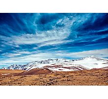 Snowy mountains. crack from an earthquake. Russia, Siberia, Altai mountains Photographic Print