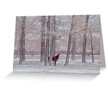 lonely horse in front of snowy winter forest Greeting Card