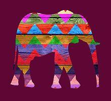 Elephant Chevron Pattern on Wood #2 by Nhan Ngo