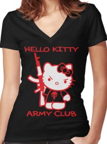 Hello Kitty Army Club Women's Fitted V-Neck T-Shirt