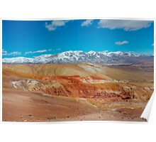 Deposit of colorful clay in the Altai Mountains or Mars valley, Kizil-Chin Poster