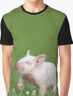 White Piglet Smelling Flower Graphic T-Shirt