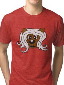 face head girl woman female long hair nice pretty sitting Teddy Bear comic cartoon sweet cute Tri-blend T-Shirt