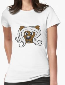 face head girl woman female long hair nice pretty sitting Teddy Bear comic cartoon sweet cute Womens Fitted T-Shirt
