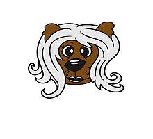 face head girl woman female long hair nice pretty sitting Teddy Bear comic cartoon sweet cute Photographic Print