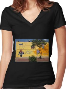 Public Wall Art & Graffiti Women's Fitted V-Neck T-Shirt