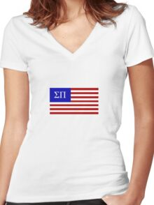 Sigma Pi American Flag Women's Fitted V-Neck T-Shirt