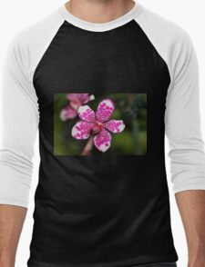 Pink and White Orchid Men's Baseball ¾ T-Shirt