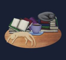 Cat Nap with Books & Tea One Piece - Short Sleeve