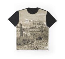 Athenian Acropolis from Philopappou Hill, 1960, Gold-toned Graphic T-Shirt