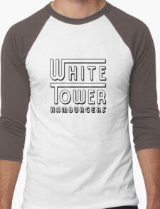 White Tower Hamburger Logo Men's Baseball ¾ T-Shirt