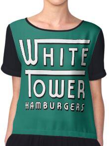 White Tower Hamburger Logo Chiffon Top