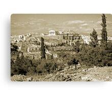 Athenian Acropolis from Philopappou Hill, 1960, Gold-toned Canvas Print