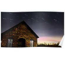 Abandoned Building Star Trails Poster