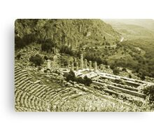 Temple of Apollo and Theatre, Delphi 1960, Yellow-toned Canvas Print