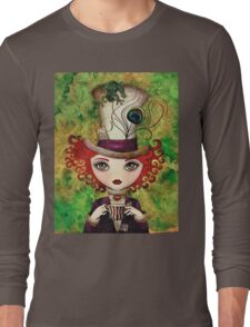 Lady Hatter (w/background) Long Sleeve T-Shirt