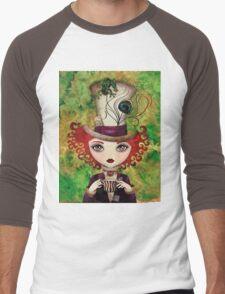 Lady Hatter (w/background) Men's Baseball ¾ T-Shirt
