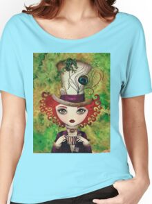 Lady Hatter (w/background) Women's Relaxed Fit T-Shirt