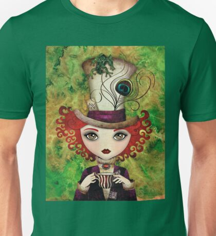 Lady Hatter (w/background) Unisex T-Shirt