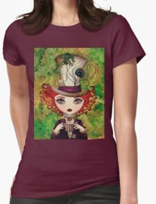 Lady Hatter (w/background) Womens Fitted T-Shirt