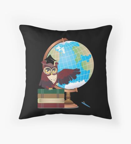 Owl with Globe Throw Pillow