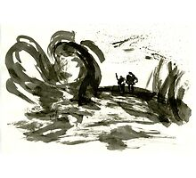 Sumi-E Painting - The Gnarled Roots Photographic Print