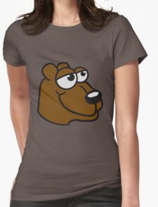 face head great funny sitting thick grizzly bear comic cartoon Womens T-Shirt