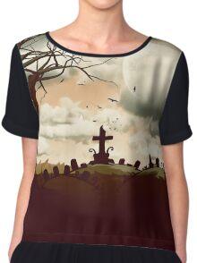 Full Moon Graveyard Sepia Chiffon Top