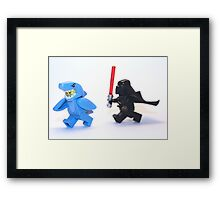 Lego Star Wars Darth Vader and Shark Suit Guy Pursuit Minifigure Framed Print