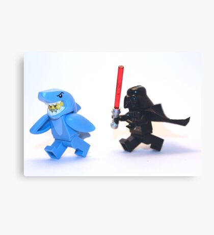 Lego Star Wars Darth Vader and Shark Suit Guy Pursuit Minifigure Canvas Print