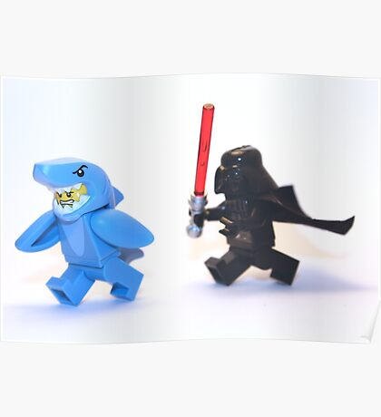 Lego Star Wars Darth Vader and Shark Suit Guy Pursuit Minifigure Poster