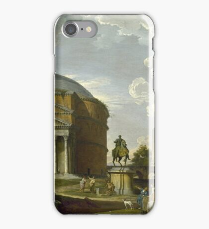 Vintage famous art - Giovanni Paolo Panini - Fantasy View With The Pantheon And Other Monuments Of Ancient Rome iPhone Case/Skin