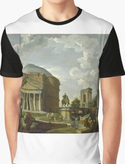 Vintage famous art - Giovanni Paolo Panini - Fantasy View With The Pantheon And Other Monuments Of Ancient Rome Graphic T-Shirt