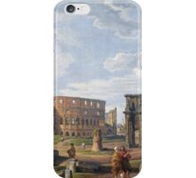 Vintage famous art - Giovanni Paolo Panini - A Capriccio View Of Rome With The Colosseum iPhone Case/Skin