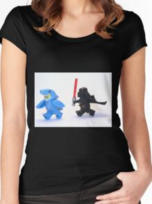 Lego Star Wars Darth Vader and Shark Suit Guy Pursuit Minifigure Women's Fitted Scoop T-Shirt