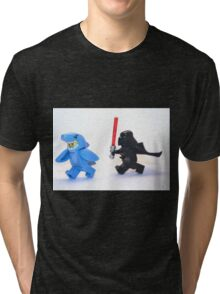 Lego Star Wars Darth Vader and Shark Suit Guy Pursuit Minifigure Tri-blend T-Shirt
